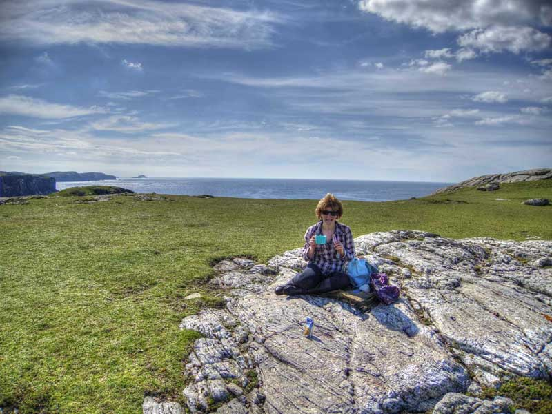 A picnic on the coastal walk near Dollag's Cottage
