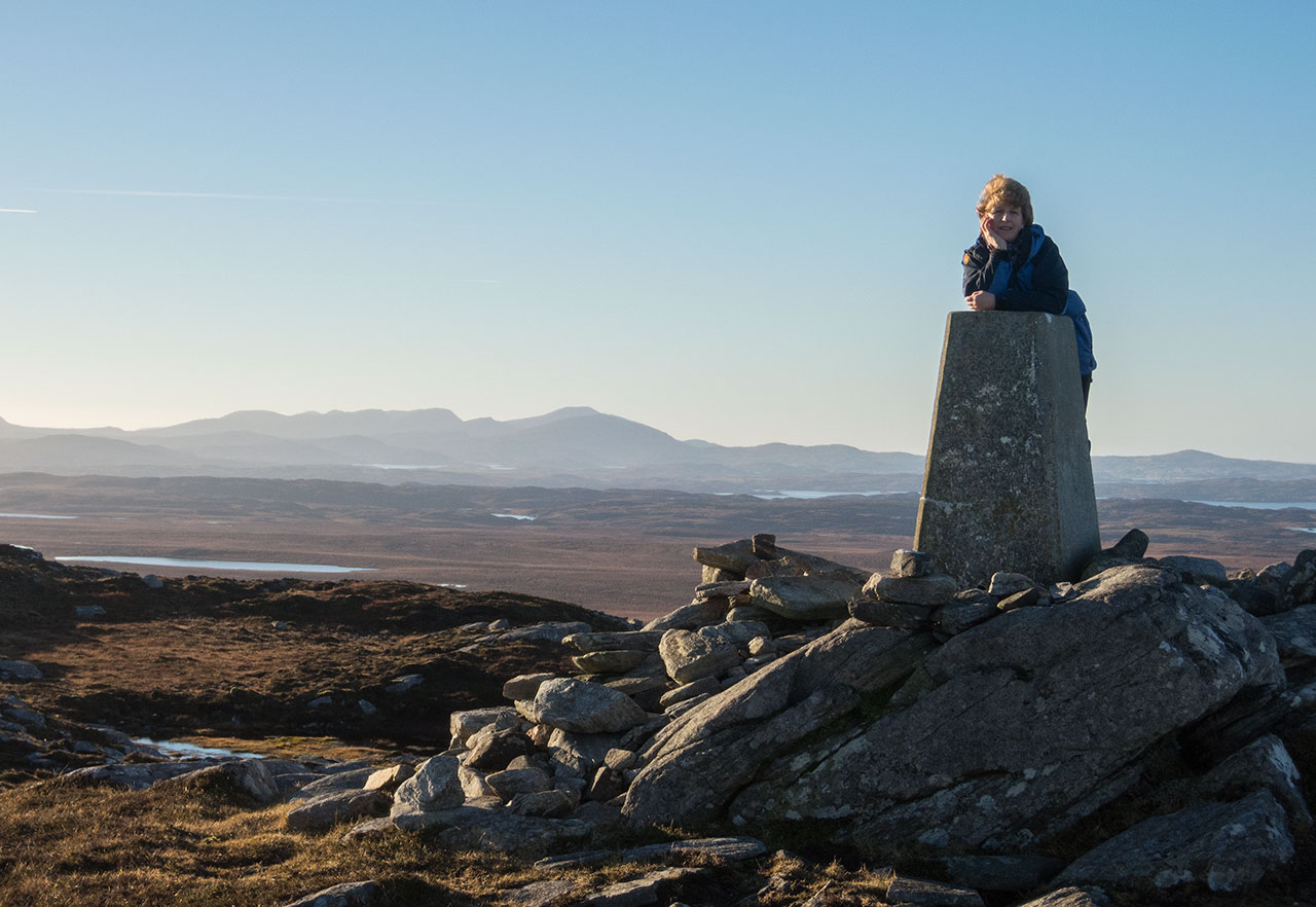 At the trig point on Beinn Bhragair