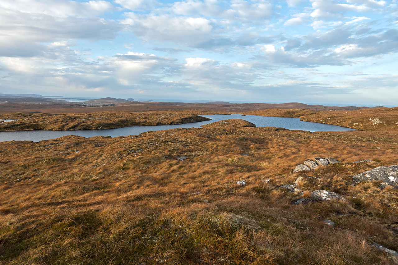 View of Carloway while hillwalking in January
