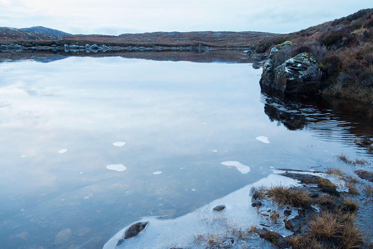 Isle of Lewis loch frozen in winter