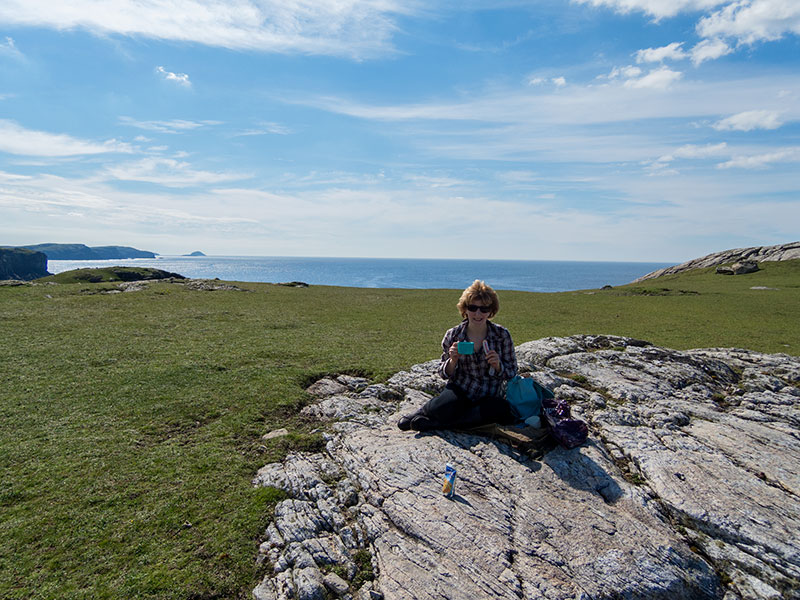 Picnic close to Dollag's Cottage on the Isle of Lewis coastal walk