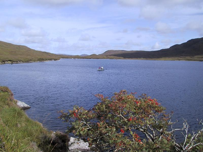 Salmon fishing on Loch Voshimid in the Hebrides